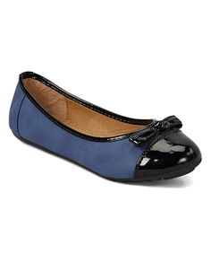 Loving this Navy Patent Toe Flat on #zulily! #zulilyfinds
