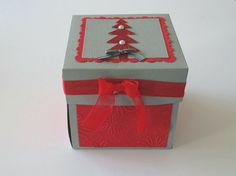 Christmas tree explosion box red and grey sequins, Christmas exploding gift box card, Christmas present gift box exploding, Holiday box card