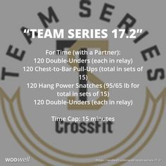 """""""Team Series 17.2"""" WOD - For Time (with a Partner): 120 Double-Unders (each in relay); 120 Chest-to-Bar Pull-Ups (total in sets of 15); 120 Hang Power Snatches (95/65 lb for total in sets of 15); 120 Double-Unders (each in relay); Time Cap: 15 minutes"""