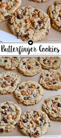 Butterfinger Cookies. These delicious buttery cookies are packed with Butterfinger Bits, butterscotch and chocolate chips!