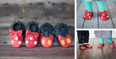 "Genuine leather character inspired moccasins are perfect for your next trip to the Amusement Park or the grocery store. Not only will our ""Mouse Moccs"" stay on your little one's feet, they are waterproof for easy cleaning. Sizes available (cm is length from heel to toe) 6 month (11.2 cm) 6-12 month (12.5 cm) 12-18 month (13.5 cm) 18-24 month (14.5 cm)"