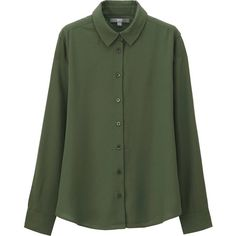 UNIQLO Silk Touch Long Sleeve Blouse ($35) ❤ liked on Polyvore featuring tops, blouses, shirts, green silk shirt, green silk blouse, green shirt, green blouse and long sleeve tops