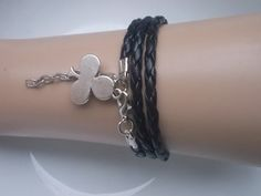 Black bracelet wattled bracelet bracelet gift  by IriscaJewelry, $3.90