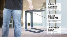Flexistand Overbed Table & Beverage Holder - Durable lightweight aluminum, scratch resistant finish, travels anywhere.