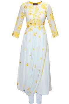Powder blue floral work drape kurta with pants by Saumya & Bhavini Modi. Shop at: http://www.perniaspopupshop.com/designers/saumya-and-bhavini-modi #perniaspopupshop #saumya&bhavini #kurta #shopnow