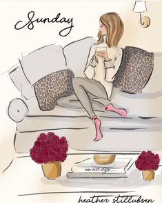 Hope you have a happy and relaxing day! Sunday Rose, Megan Hess, Weekend Quotes, Saturday Quotes, Hello Weekend, Hello Sunday, Relaxing Day, Fashion Sketches, Girly Things