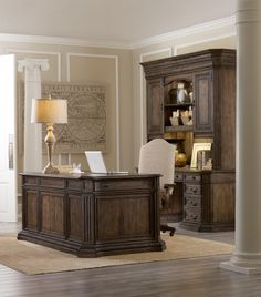 Home Office ~ Hooker Furniture: Rhapsody Collection Executive Desk with Leather Writing Surface and Locking File Drawers