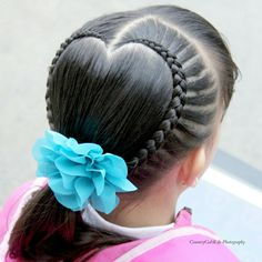 Heart Shape Braid - 02/07/2017. Girly Hairstyles, Little Girl Hairstyles, Braided Hairstyles, Wedding Hairstyles, Jasmine Hair, Baby Girl Hair, Heart Hair, Shoulder Length Hair, Crazy Hair