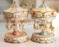 Pretty Carousel Music Boxes.