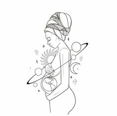 The embodiment of the whole universe in one, a mother is nature's masterpiece. Her love, the most sincere, selfless, intense form of humanly emotio. Pencil Art Drawings, Art Drawings Sketches, Tattoo Design Drawings, Pregnancy Art, Outline Art, Minimalist Art, Aesthetic Art, Aesthetic Pastel, Doodle Art