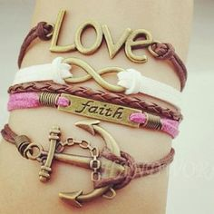 Love and faith ancors the soul. infinity bracelette