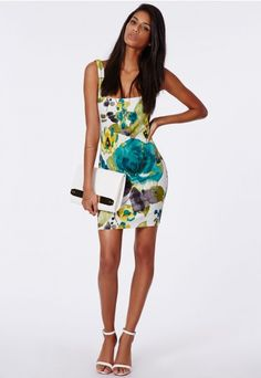 Cherish Scuba Bodycon Mini Dress Floral - Missguided $22.78