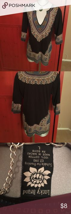 Lucky Brand long multi shirt, 100% cotton. Lucky 28 inches top. Black with a tribal print. Lucky Brand Tops Tees - Long Sleeve