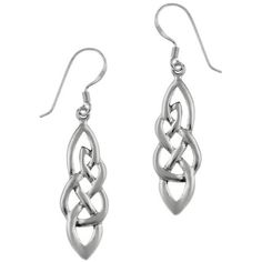 Mondevio Sterling Silver Celtic Weave Dangle Earrings ($17) ❤ liked on Polyvore featuring jewelry, earrings, white, hook earrings, white earrings, long earrings, clasp earrings and celtic earrings