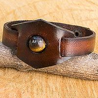 Tiger's eye and leather band band bracelet, 'Earthy Essence'