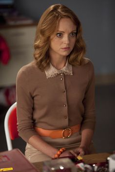 Jayma Mays in Glee Glee Fashion, Work Fashion, Coco Chanel, Steal Her Style, Preppy, Jayma Mays, The Cardigans, Librarian Style, Emma Style