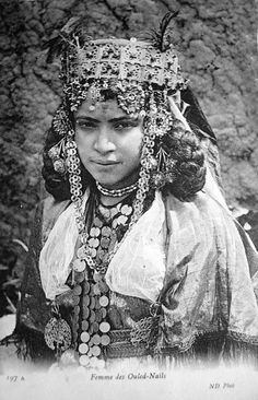 "Africa | ""Femme des Ouled - Naïls"".  Post stamped 1907. 