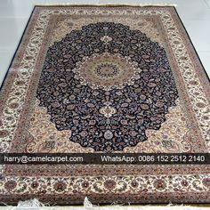 Luxury Black Blue Persian Design Handmade Silk #OrientalCarpet No.10301 - 152x244cm (5x8foot) | harry@camelcarpet.com