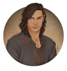 "rhetoricalrogue: "" I was fortunate to snag a commission slot from @merwild to ask for my perpetually grumpy looking Vincent Trevelyan, former Enchanter of the Ostwick Circle and half-brother to Rolfe..."