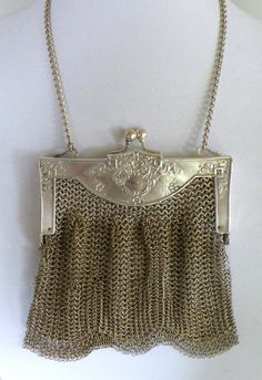 Antique German Silver Mesh Handbag Purse Signed RG #RG #EveningBag