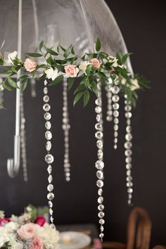 no umbrella, please, but love the ruskus (green) and mini roses and carns with some bling