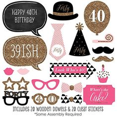 Chic 40th Birthday - Pink, Black and Gold - Birthday Photo Booth Props Kit - 20 Count