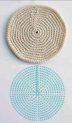 New Crochet Basket Square Ganchillo Ideas Crochet Circles, Crochet Motifs, Crochet Diagram, Crochet Round, Crochet Chart, Crochet Doilies, Crochet Stitches, Crochet Patterns, Mode Crochet