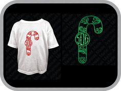 Candy cane swirl monogram, candy cane monogram, swirly candy cane, monogram toddler, youth shirt. Short sleeve only. - pinned by pin4etsy.com