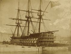 HMS Duke of Wellington. Albumen silver print from a waxed paper negative. Old Sailing Ships, Ship Of The Line, Uk History, Man Of War, Getty Museum, Wooden Ship, Set Sail, Navy Ships, Royal Navy