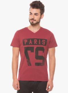 Prym Red Printed V Neck T-shirt