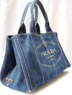 PRADA DENIM BLUE SIGNATURE DOUBLE HANDLE PURSE TOTE