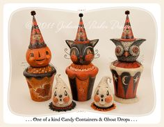 Johanna Parker Design * Halloween Folk Art Gallery - paper mache vintage style halloween ornaments.  Cat, pumpkin, owl and more