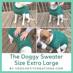 The Doggy Sweater Size Extra Large - Crochet it Creations - - The XL Dog Sweater Crochet Pattern will fit your pet measurements included and other sizes also available. Large Dog Coats, Large Dog Sweaters, Large Dog Clothes, Pet Clothes, Sweaters For Dogs, Crochet Dog Sweater Free Pattern, Dog Sweater Pattern, Crochet Patterns, Free Crochet