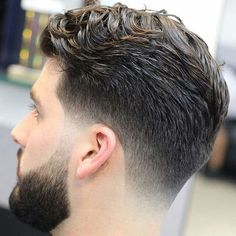 Thick Side Swept Hair with Low Taper Fade