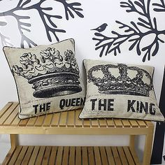 Pair THE KING and THE QUEEN Crown Linen Throw Cushion Cover Pillow Case