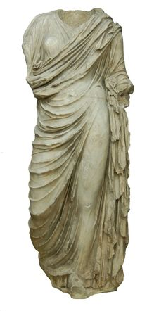 Pentelic marble statue; draped female torso; stands on left foot, right leg drawn back; head, which was separately made, fits into socket; forearms and most of the feet missing. Probably a stock Greek-style body for a Roman female portrait. Culture/period:      Roman (Julio-Claudian?) 1stC