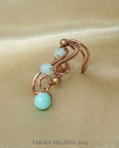 Copper wire ear cuff with beads