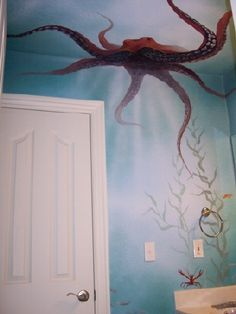 underwater mural. I think it's amazing!  Would love to have something like this in any room here at our house at the beach.
