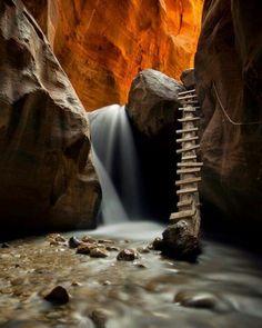 A staircase into a cave in Kanarra creek canyon Utah