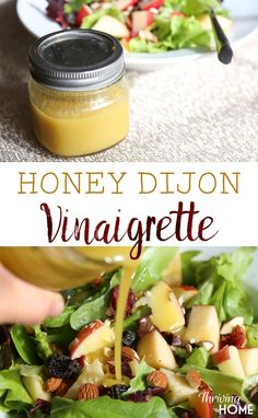 Homemade honey dijon vinaigrette. A tangy salad dressing that tops off sweet salads perfectly! You just can't beat a homemade salad dressing--they are so good!