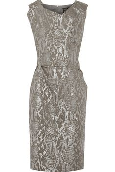 Gray and silver snake-jacquard Concealed button fastenings along front, concealed zip fastening along back cotton, metallic polyester, elastane; Designer Clothes Sale, Discount Designer Clothes, Designer Clothing, Vivienne Westwood Anglomania, Slim Fit Dresses, Jacquard Dress, Metallic Dress, Brown Dress, Snakes