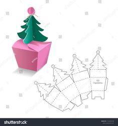 Einzelhandelsbox mit Blueprint-Vorlage Stock-Vektorgrafik (Lizenzfrei) 1164594100 Immagine vettoriale a tema scatola al dettaglio con modello di modello (royalty free) 1164594100 Paper Gift Box, Paper Gifts, Diy Paper, Paper Crafting, Gift Boxes, Paper Art, Noel Christmas, Christmas Crafts, Paper Box Template