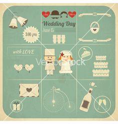 Wedding invitation infographics retro card vector by elfivetrov on VectorStock®