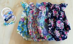 Floral Seaside Flutter Rompers Available in sizes 00000 - 3.