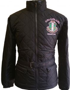 297182c01 Buffalo Dallas Alpha Kappa Alpha Quilted Belt Ladies Riding Jacket  Black -  S