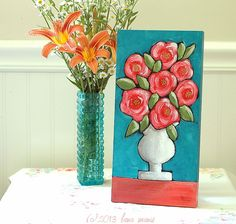 Coral Flowers in White Ironstone Vase Original by LanaManisDesigns, $65.00 #cottage #whimsical #art