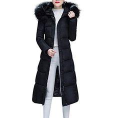 b60b0c0773a Celucke Women s Puffer Jackets Down Long Hooded Coats Winter Slim Fit Warm  Thicken Solid Outwear Ladies