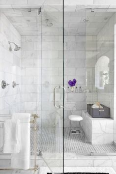48 Wonderful Marble Bathroom Designs : 48 Luxurious Marble Bathroom Designs With Glass Shower White Bathroom Wall Chair Towel Flower Decor And Carpet And Ceramic Floor Marble Tile Bathroom, White Marble Bathrooms, Marble Showers, Marble Tiles, Glass Showers, Marble Floor, Subway Tiles, Tiled Showers, Honed Marble