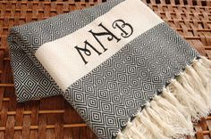 Personalized Turkish Towel Black Diamond Design COTTON PESHTEMAL Towel - Monogrammed Embroidered - Beach Wedding Bachelorette Party by NaturalSoft on Etsy https://www.etsy.com/listing/192881344/personalized-turkish-towel-black-diamond