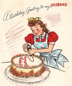 Girl Decorating A Cake Vintage Birthday Card